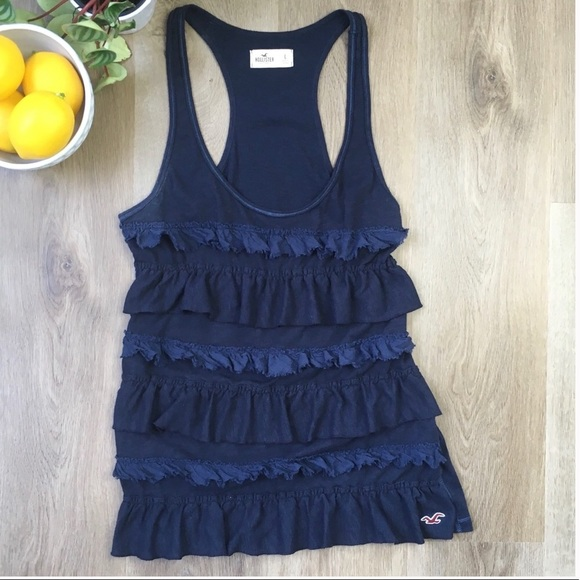 5/$25 HOLLISTER Navy Ruffled Front Loose Fit Tank